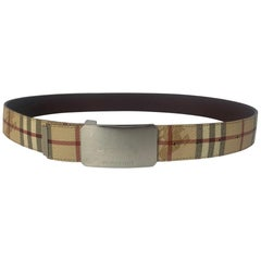 "Burberry Plaid Check/Brown Leather Reversible Belt sz 30.5""-34.75"""