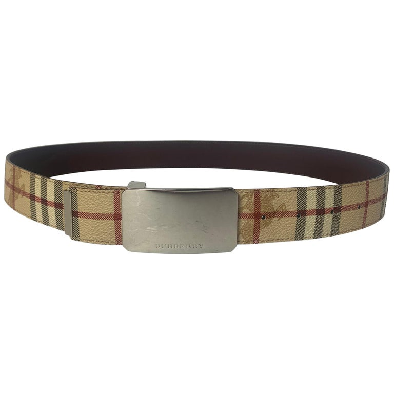 "Burberry Plaid Check/Brown Leather Reversible Belt sz 30.5""-34.75"" For Sale"