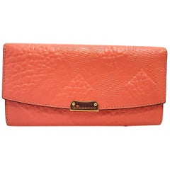 Burberry Porter Rose Pink Embossed Check Wallet