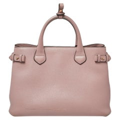 Burberry Powder Pink Leather and House Check Fabric Medium Banner Tote