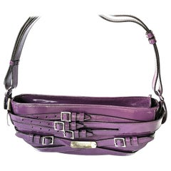 Burberry Prorsum Beetroot Bridle Patent Structured Hard Saddle Bag