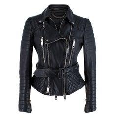 Burberry Prorsum Black Belted Biker Jacket - US Size 6