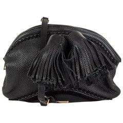 BURBERRY PRORSUM black leather WILBUR Tassel Cross Body Bag