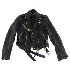 Burberry Prorsum Black Runway Moto Motorcycle 59burz1009 Jacket