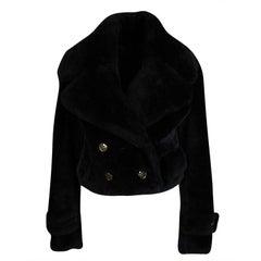 Burberry Prorsum Black Sheep Shearling Jacket S