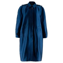 Burberry Prorsum Blue Satin Cocoon Trench Coat L
