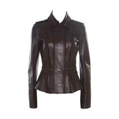 Burberry Prorsum Brown Lamb Leather Fringed Trim Jacket S