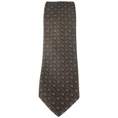 BURBERRY PRORSUM Brown & Navy Square Print Silk Skinny Tie