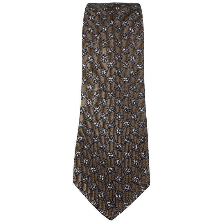 BURBERRY PRORSUM Brown & Navy Square Print Silk Skinny Tie For Sale