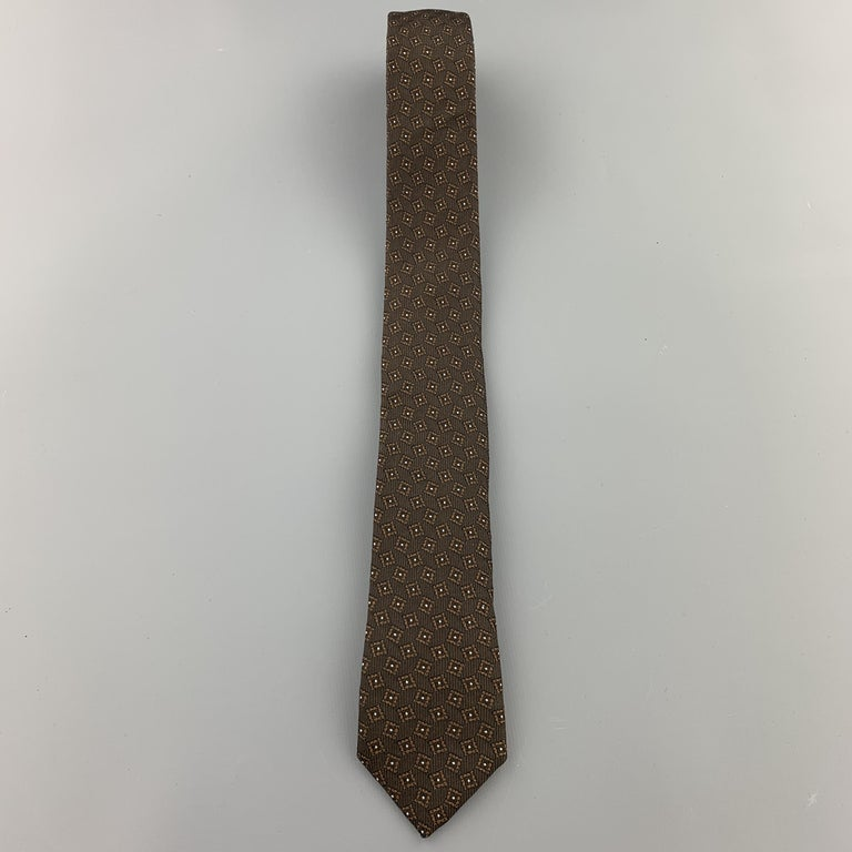 Black BURBERRY PRORSUM Brown Silk Squares Print Skinny Tie For Sale