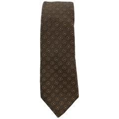 BURBERRY PRORSUM Brown Silk Squares Print Skinny Tie