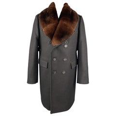 BURBERRY PRORSUM Chest Size 44 Black Solid Wool Notch Lapel Coat