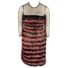 BURBERRY PRORSUM F/W 12 Size 10 Black & Pink Nylon / Polyester Tinsel Dress