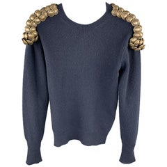 BURBERRY PRORSUM Fall 2010 XS Navy Knitted Wool Gold Button Epaulettes Sweater