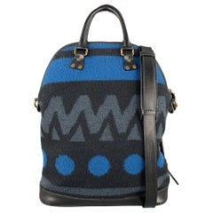 BURBERRY PRORSUM Fall 2014 St Ives Black & Blue Woven Geometric Wool Tote