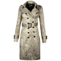 Burberry Prorsum Gold Floral Brocade Double Breasted Trench Coat sz 40
