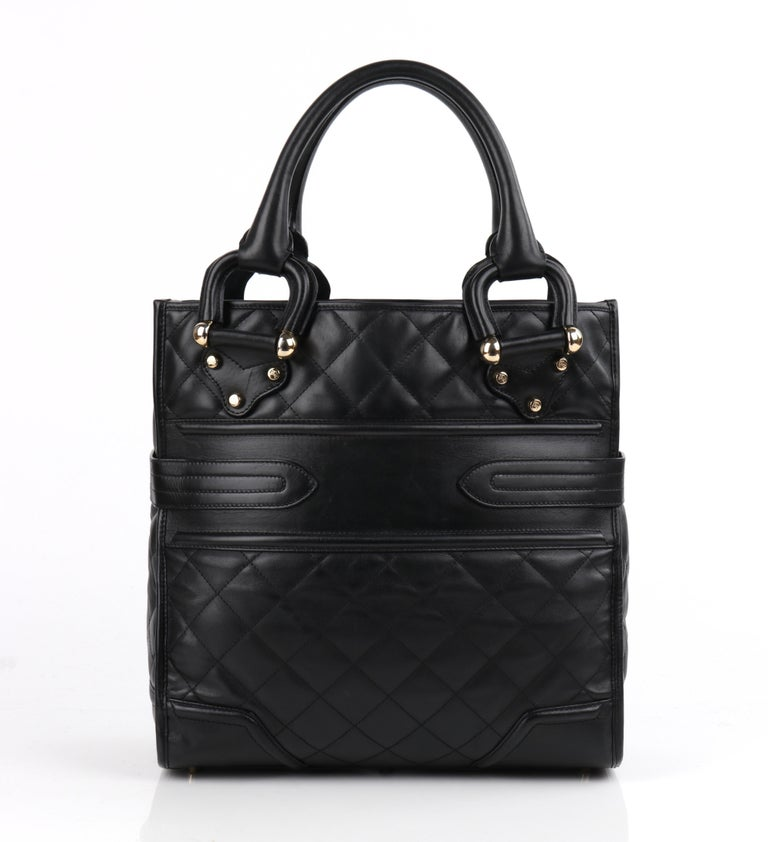 BURBERRY Prorsum Manor Style Quilted Top Handle Buckle Detail Handbag Purse  Burberry Prorsum A/W 2007 runway collection black leather