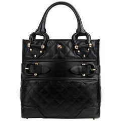 BURBERRY Prorsum Manor Style Quilted Top Handle Buckle Detail Handbag Purse
