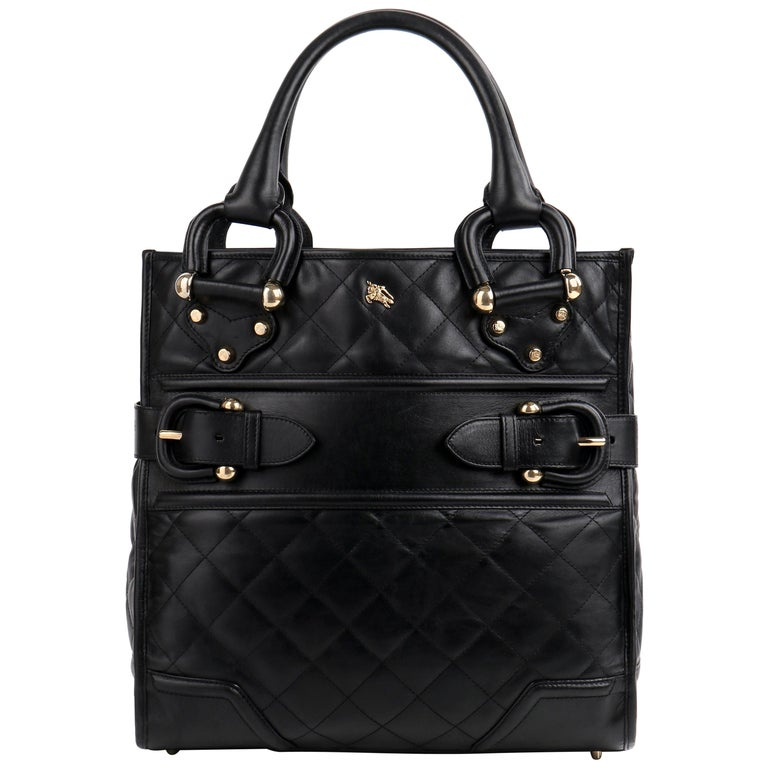 BURBERRY Prorsum Manor Style Quilted Top Handle Buckle Detail Handbag Purse For Sale