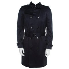 Burberry Prorsum Navy Blue Cotton Double Breasted Belted Trench Coat M