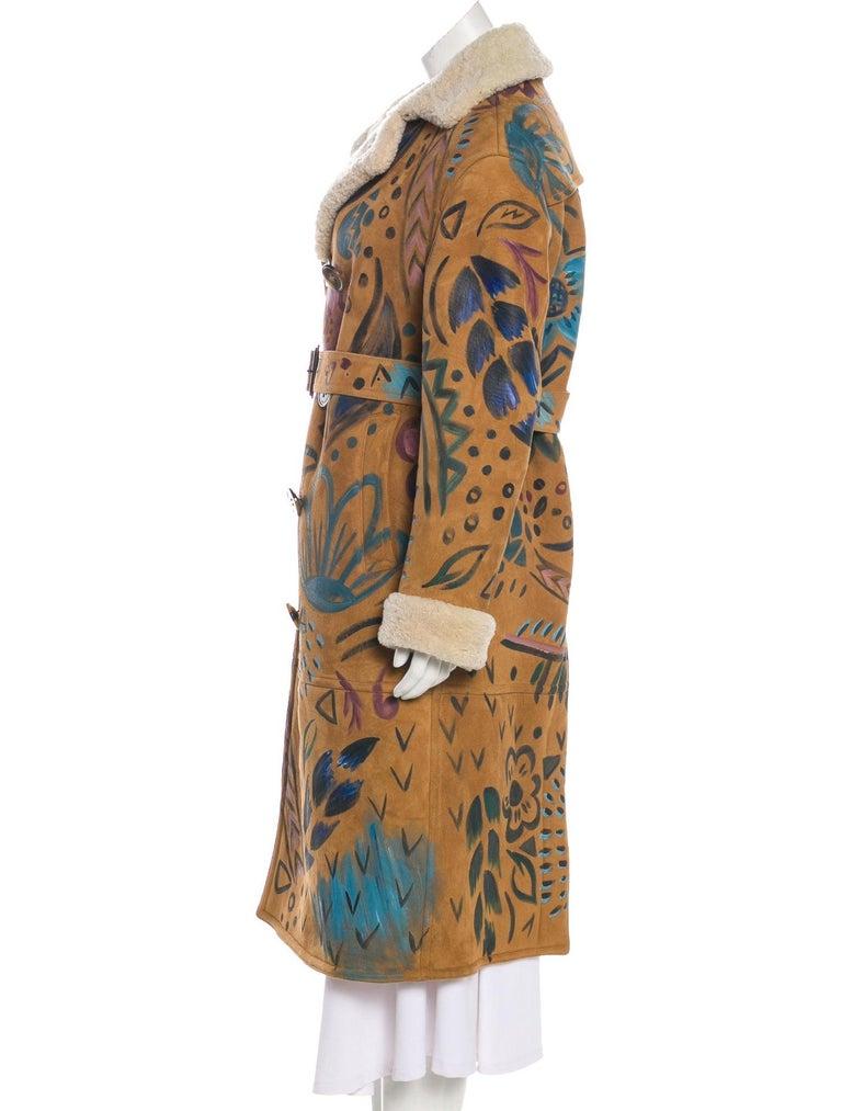 Brown Burberry Prorsum NEW Cognac Multi Color Suede Evening Winter Over Long Coat For Sale