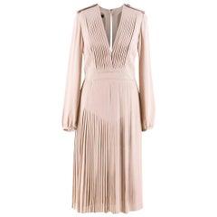 Burberry Prorsum Pleated Silk V-Neck Dress US 6