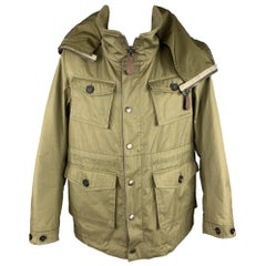 BURBERRY PRORSUM Resort 2013 Size 42 Olive Cotton Zip & Snaps High Collar Jacket