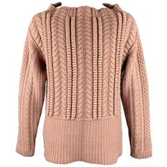 BURBERRY PRORSUM Resort 2013 Size XL Rose Pink Cable Knit Wool Wide Neck Sweater