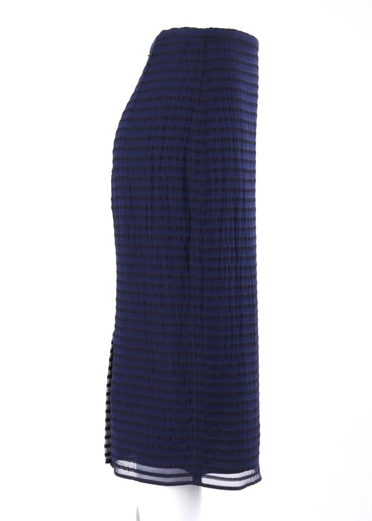 BURBERRY Prorsum Resort S/S 2015 Navy Blue Black Striped Midi Pencil Skirt NWT   Brand / Manufacturer: Burberry  Collection: Resort Spring / Summer 2015; runway look #9 Manufacturer Style Name: Pencil skirt  Color(s): Bright navy, black Lined: