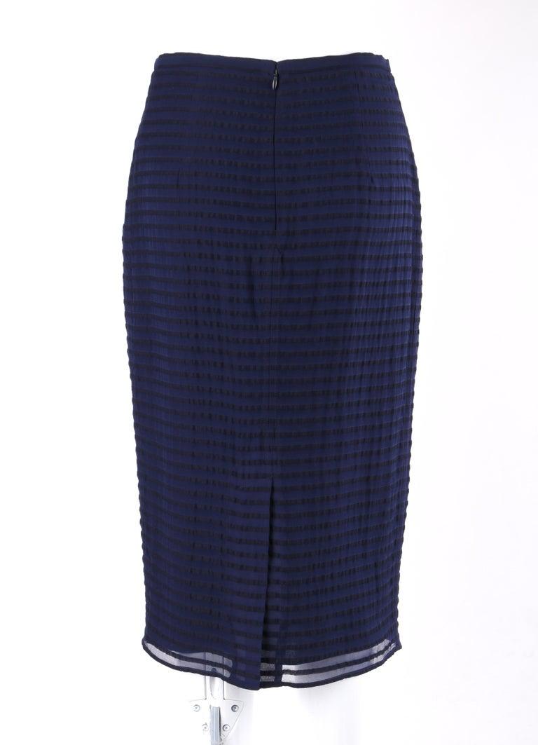 Black BURBERRY Prorsum Resort S/S 2015 Navy Blue Striped Midi Pencil Skirt NWT  For Sale