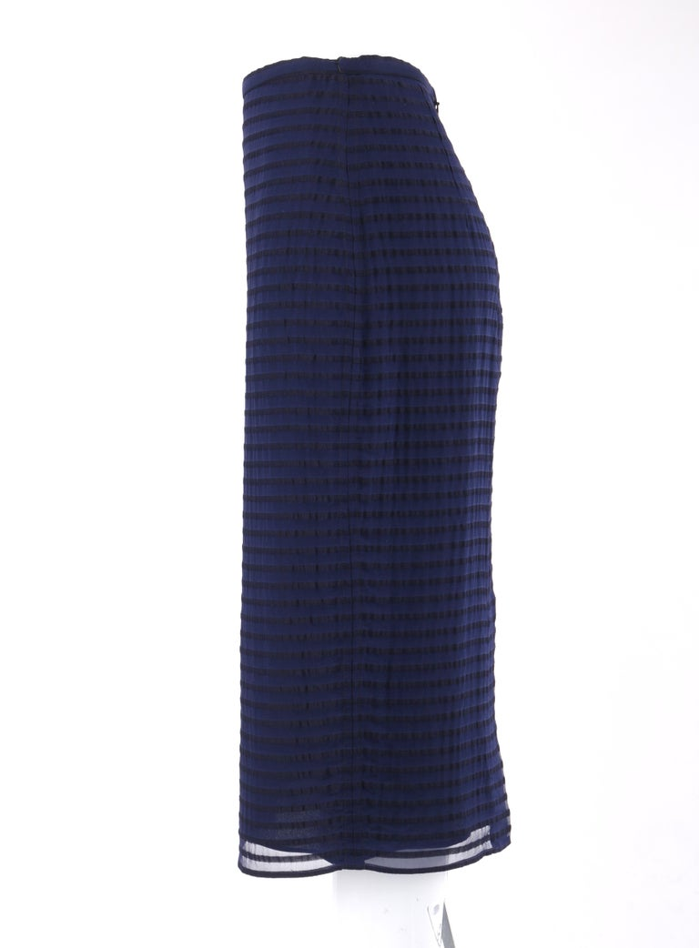 BURBERRY Prorsum Resort S/S 2015 Navy Blue Striped Midi Pencil Skirt NWT  In New Condition For Sale In Thiensville, WI