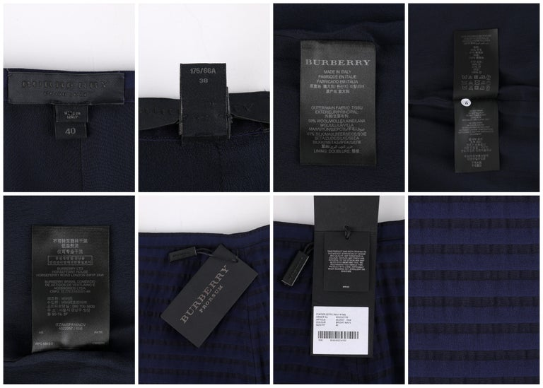 Women's BURBERRY Prorsum Resort S/S 2015 Navy Blue Striped Midi Pencil Skirt NWT  For Sale