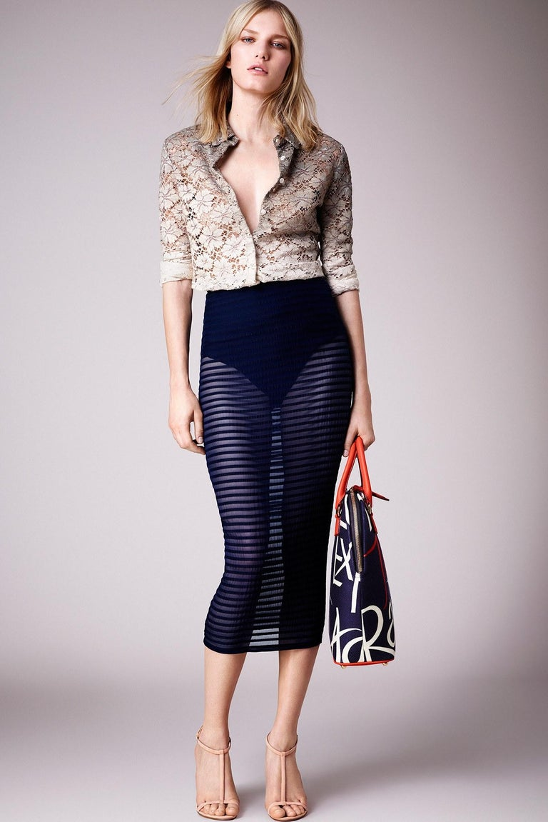 BURBERRY Prorsum Resort S/S 2015 Navy Blue Striped Midi Pencil Skirt NWT  For Sale 1