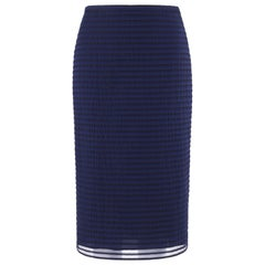 BURBERRY Prorsum Resort S/S 2015 Navy Blue Striped Midi Pencil Skirt NWT