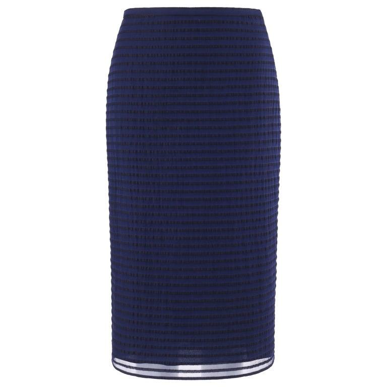 BURBERRY Prorsum Resort S/S 2015 Navy Blue Striped Midi Pencil Skirt NWT  For Sale