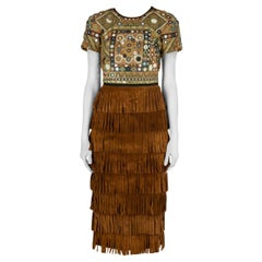 Burberry Prorsum Russet Brown Mirror Embellished Fringed Suede Midi Dress S