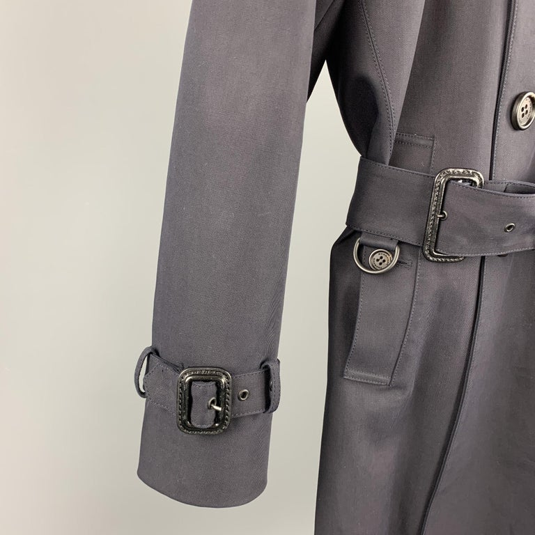 Black BURBERRY PRORSUM Size 34 Navy Cotton Double Breasted Belted Trenchcoat For Sale