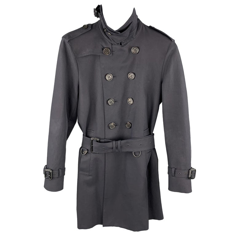BURBERRY PRORSUM Size 34 Navy Cotton Double Breasted Belted Trenchcoat For Sale