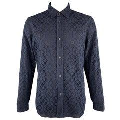 BURBERRY PRORSUM Size L Navy Cotton Blend Lace Button Up Long Sleeve Shirt