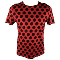 BURBERRY PRORSUM Size L Red Polka Dot Cotton Crew-Neck T-shirt
