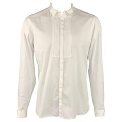 BURBERRY PRORSUM Size L White Cotton French Cuff Long Sleeve Shirt