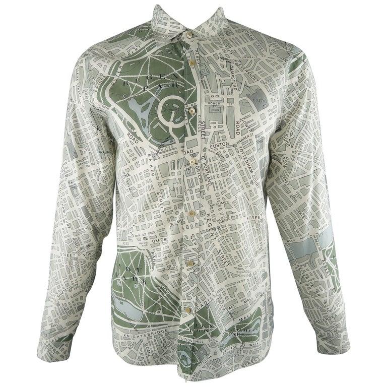 c82e8ed42eb7 BURBERRY PRORSUM Size L White & Grey Print Cotton Long Sleeve Shirt For Sale