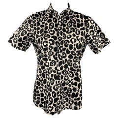BURBERRY PRORSUM Size XL Black & White Giraffe Print Cotton Shirt