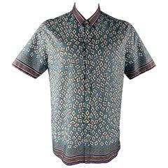 BURBERRY PRORSUM Size XL Blue Print Cotton Button Up Short Sleeve Shirt