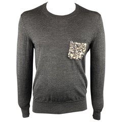 BURBERRY PRORSUM Size XL Charcoal Rhinestone Wool Round Neck Sweater