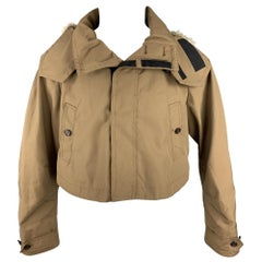 BURBERRY PRORSUM Spring 2012 Size 36 Brown Polyester Zip & Button Cropped Jacket