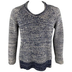 BURBERRY PRORSUM Spring 2012 Size L Navy & White Knitted Wool Fisherman Sweater