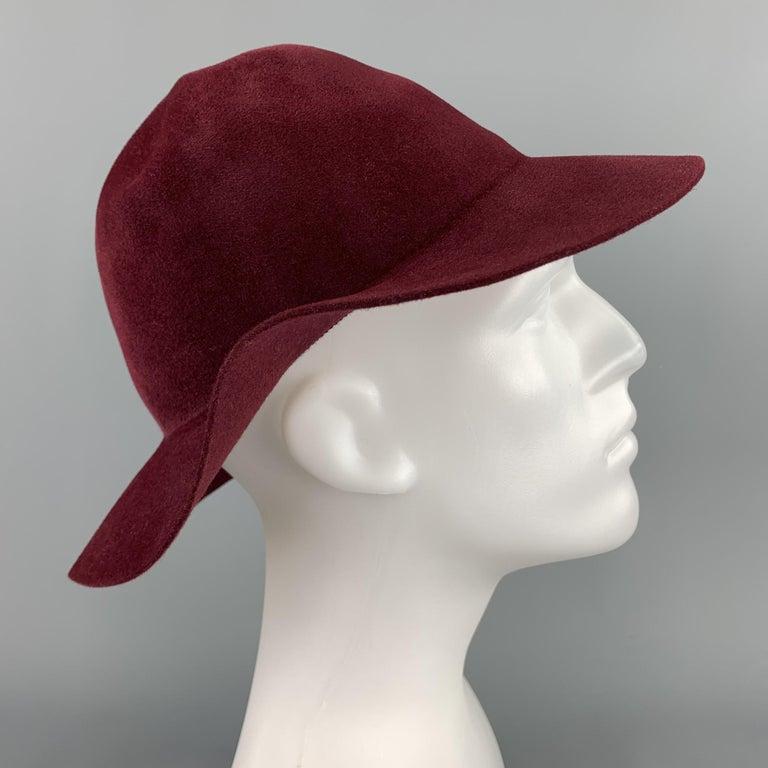 Gray BURBERRY PRORSUM Spring 2015 Size M Burgundy Rabbit Hair Felt Fedora Hat For Sale