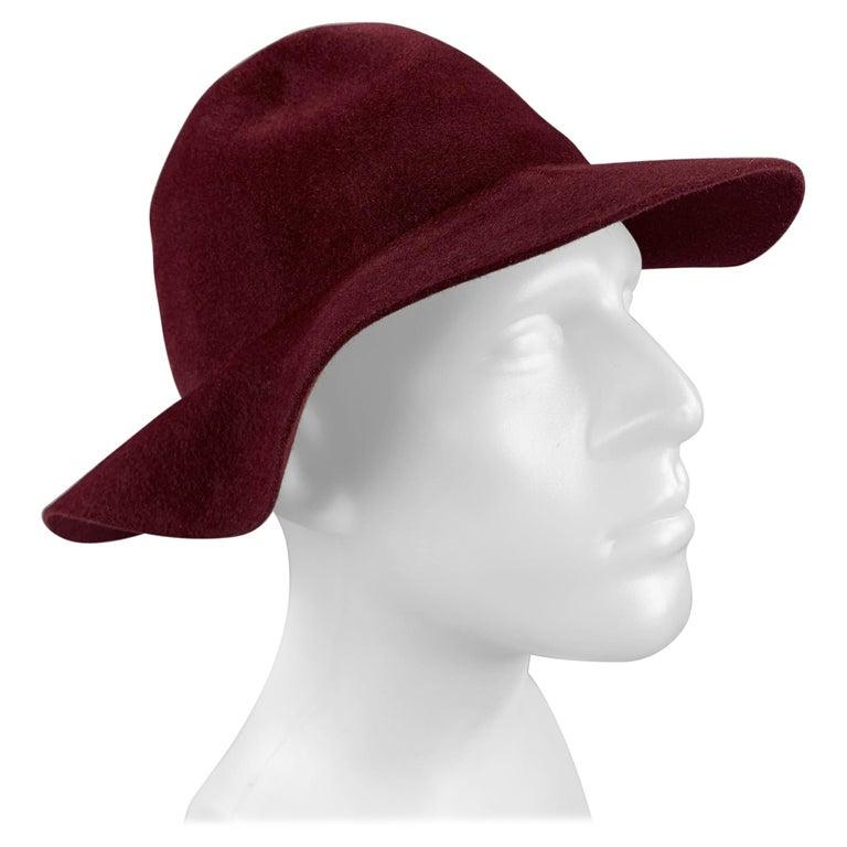 BURBERRY PRORSUM Spring 2015 Size M Burgundy Rabbit Hair Felt Fedora Hat For Sale