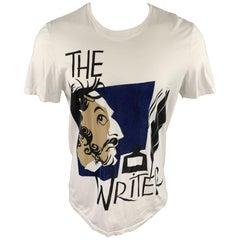 BURBERRY PRORSUM Spring 2015 Size M White Graphic Cotton Crew-Neck T-shirt